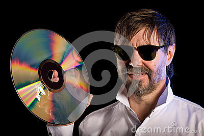 Man with the retro laser disc