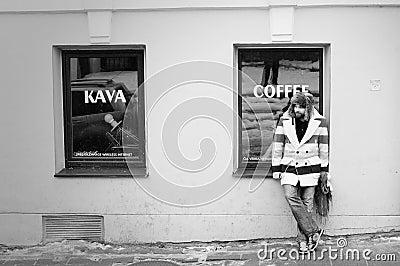 Man retro melancholy alone waiting by coffee