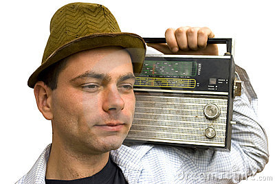Man with retro radio