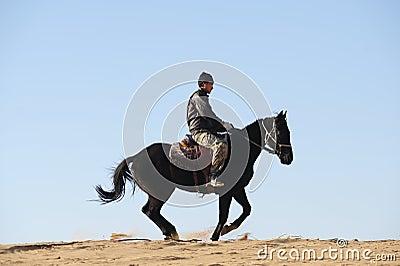 Man rides the horse