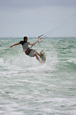 Man Rides Waves Parasail Surfing Off Florida Coast Editorial Image