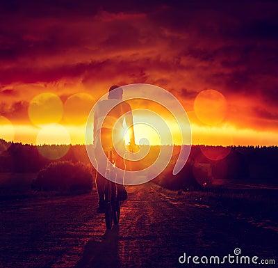 Free Man Riding A Bicycle At Sunset Royalty Free Stock Photos - 55046548