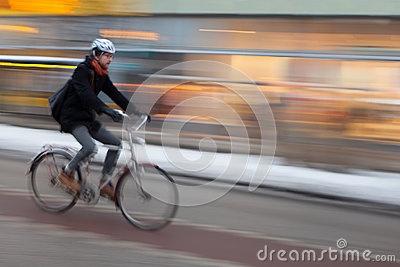 Man riding Bicycle, Stockholm Editorial Photo