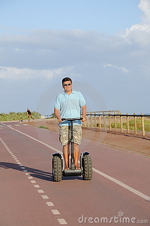 Man riding segway