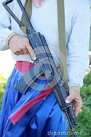 Man with rifle AK-47