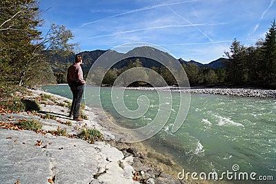 Man at river