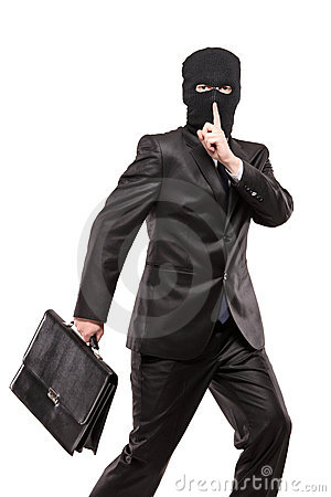 A man in robbery mask stealing a briefcase