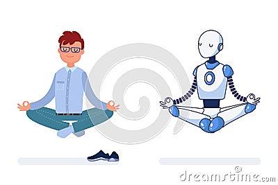 Man and robot do yoga together. Vector Illustration
