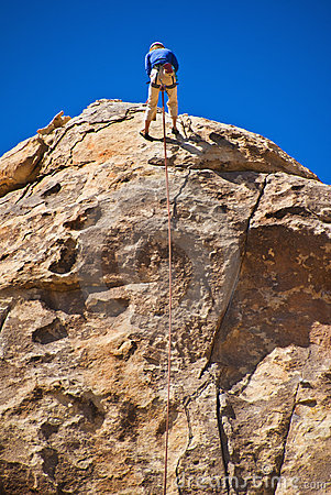 Man rock climbing, Joshua Tree National Park