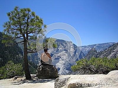 Man On A Rock At Yosemite