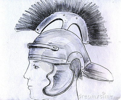 Man in Roman helmet