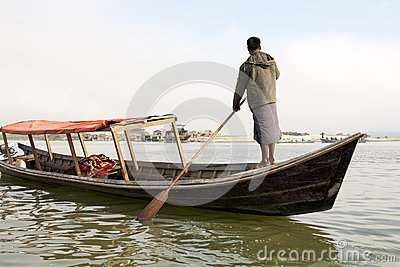 Man Rowing Boat Editorial Stock Photo