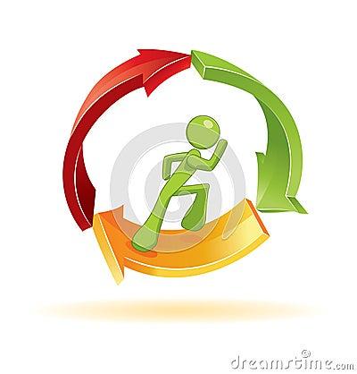 Man running in 3d  symbol