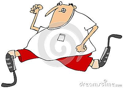 Man running on artificial legs