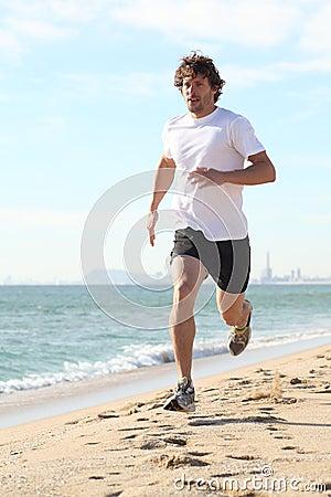 Man running in the beach