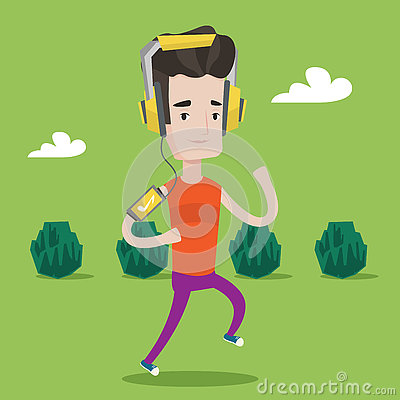 Man running with earphones and smartphone. Vector Illustration