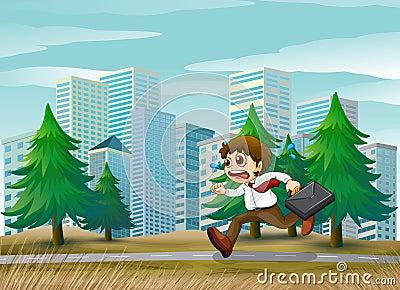 A man running hurriedly