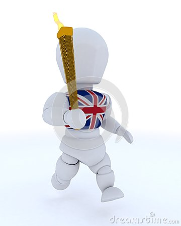 Man running with olympic torch