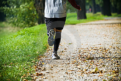 Man running outdoors in park