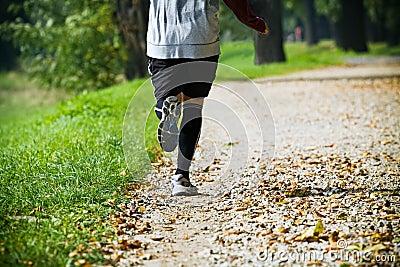 Man running outdoors in park