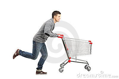 Man running and pushing a shopping cart