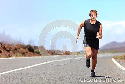 Man running / sprinting on road