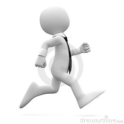 Man running with suit and tie