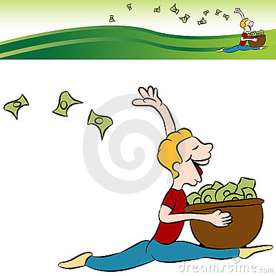 Man Running Tossing Money