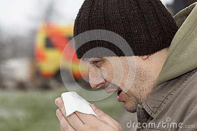 Man with a runny nose