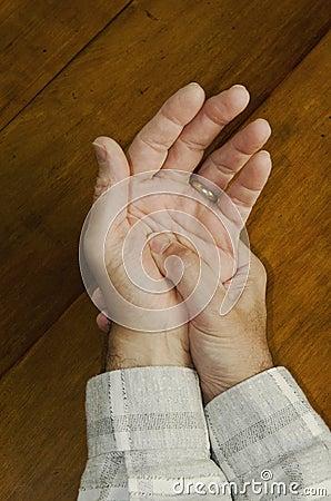 Man s arthritic hands