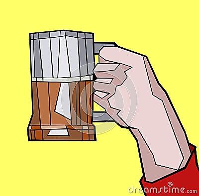 Man s hand with a beer mug