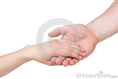 The man s hand carefully holds female