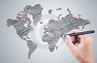 Man s hand drawing a world map over the gray