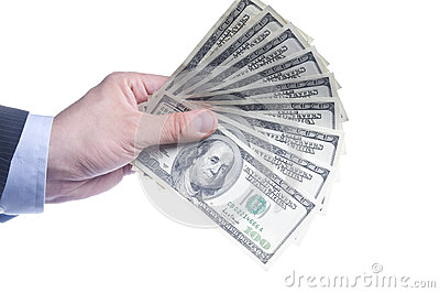 Man s Hand With a Fan Of Dollars