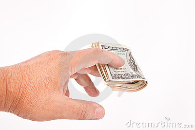 Man s hand giving dollars