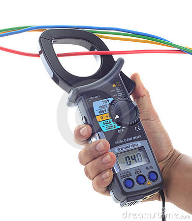 Man s hand hold AC and DC clamp meter