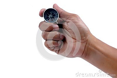 Man s hand holding a compass