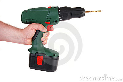 Man s hand holding drill