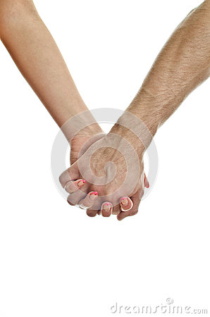 Man s hand holding woman s hand.