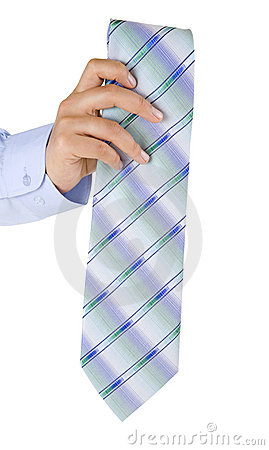 Man s hand presenting a folded tie