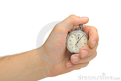 Man s hand with a stopwatch
