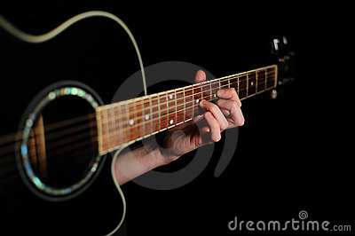 Man s hand striking a chord