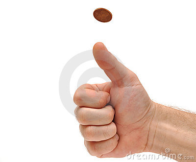 Man s hand throwing up a coin to make a decision