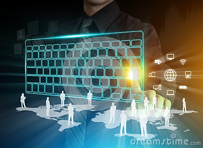 Man s hands typing on digital keyboard