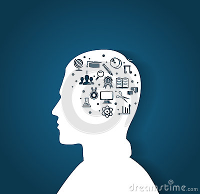 Man s head with education icons