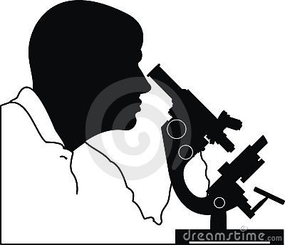 Man s head and microscope