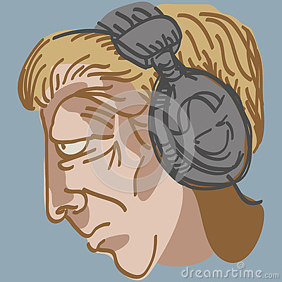Man s head with music earphones