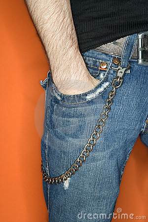 Man s jeans with wallet chain.