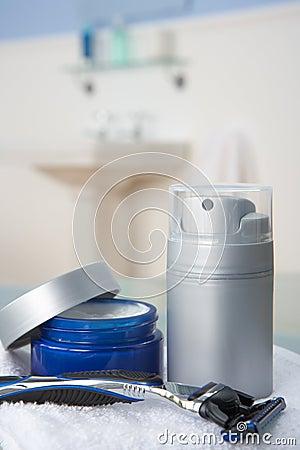 Man s shaving kit in bathroom