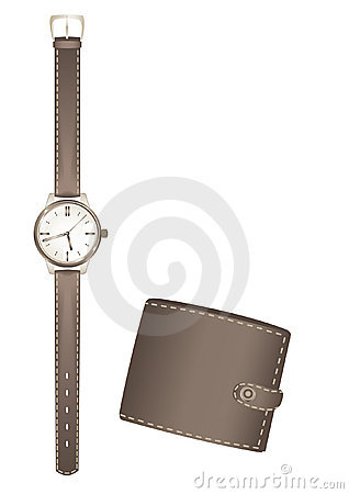 Man s watch and purse